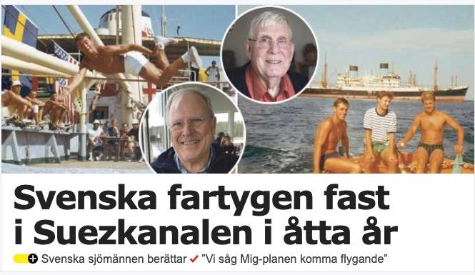 Article in Swedish daily Aftonbladet, 31 March 2021 about the stranded ships